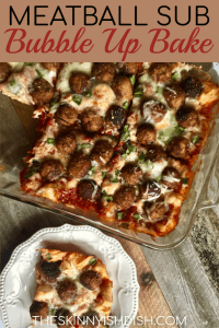 Meatball Subs are the ultimate comfort food, but when you're looking for a recipe with all the flavor and a portion of the calories my Meatball Sub Bubble Up Bake is for you!  It's a cheesy and delicious recipe made with my tasty marinara, flavorful turkey meatballs, mozzarella and cheese.  #theskinnyishdish #meatballsub #bubbleup #bake #meatballs #marinara #biscuits #freestylesmartpoints #weightwatchers