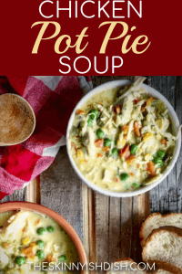 When you're eating healthy, but craving that classic taste of Chicken Pot Pie, try my lightened up Chicken Pot Pie Soup recipe!  It's easy and quick and it gives you that creamy and cozy soup that you just have to have on cool days!  #theskinnyishdish #chicken #potpie #soup #chickenpotpie #freestylesmartpoints #weightwatchers #ww