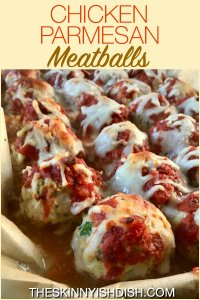 My Chicken Parmesan Meatballs are an easy and delicious way to enjoy the flavors you love in a lightened up recipe.  Perfect on their own, in a sub, or added to pasta dishes, these baked meatballs are filled with bread crumbs, Italian seasoning and zucchini for a healthy and fun way to incorporate veggies into your meals! #theskinnyishdish #chickenparmesan #meatballs #weightwatchers #freestylesmartpoints