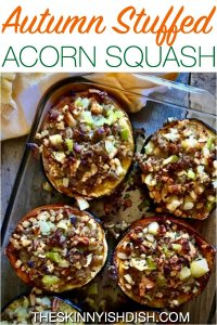 Whether it's Autumn or not, my Autumn Stuffed Acorn Squash recipe will have you reaching for your scarves and boots. Filled with turkey sausage, stuffing, apples, pecans and sage these delicious squash are a healthy option for supper tonight! #theskinnyishdish #autumn #stuffed #acornsquash #weightwatchers #freestylesmartpoints