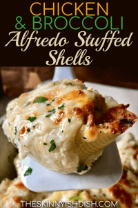 These Chicken and Broccoli Alfredo Stuffed Shells are easy and delicious!  Stuffed with ricotta cheese, chicken and broccoli and covered in a decadent Alfredo sauce that his been lightened up, families all over will go nuts for this dish! #theskinnyishdish #chicken #broccoli #alfredo #stuffedshells #freestylesmartpoints #weightwatchers #ww
