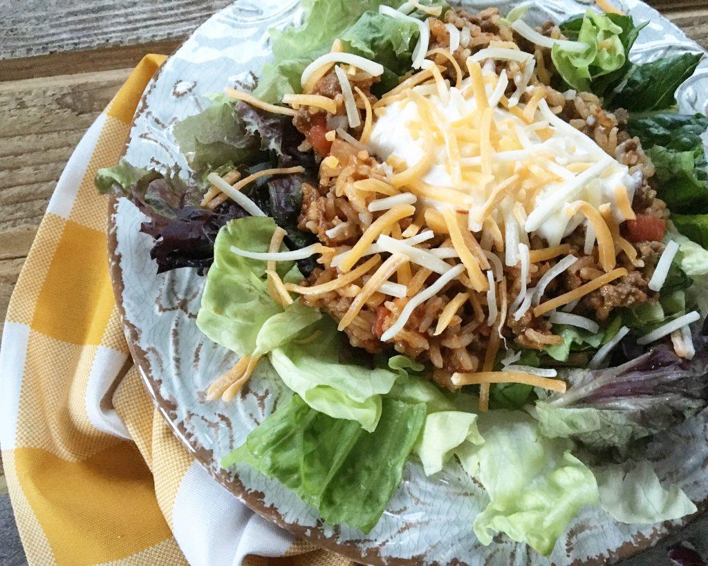 Beef & Rice Taco Casserole