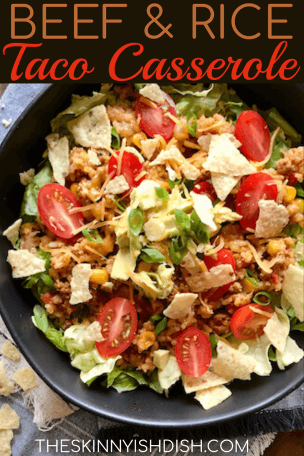 My Beef and Rice Taco Casserole came together by chance, but has been served over and over again with purpose!  A perfect dish for families everywhere; this casserole is made with rice, ground beef, salsa, chilies, and is creamy and delicious!  #theskinnyishdish #beef #rice #taco #casserole #tacocasserole #freestylesmartpoints #weightwatchers #ww