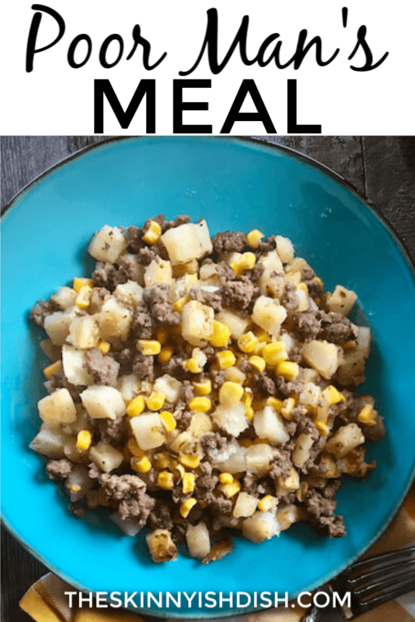 The Poor Man's meal isn't fancy or winning any awards, but it's one of the most simple and delicious comfort foods around.  Meat, hash browns and corn join seasoning to create this tasty and hearty midwest skillet full of flavor. #poorman #skillet #ww
