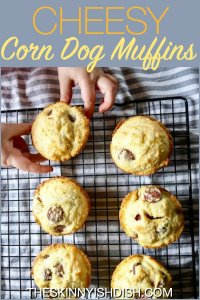 When you can pack the flavor of a carnival classic corn dog into a muffin, you've got a winner!  I gave this recipe a more healthy spin by using lean hot dogs, reduced fat cheese, Egg Beaters and of course…Jiffy Cornbread Mix.  Enjoy as an appetizer, snack or meal! #theskinnyishdish #cheesy #corndog #muffins #jiffy #weightwatchers #freestylesmartpoints