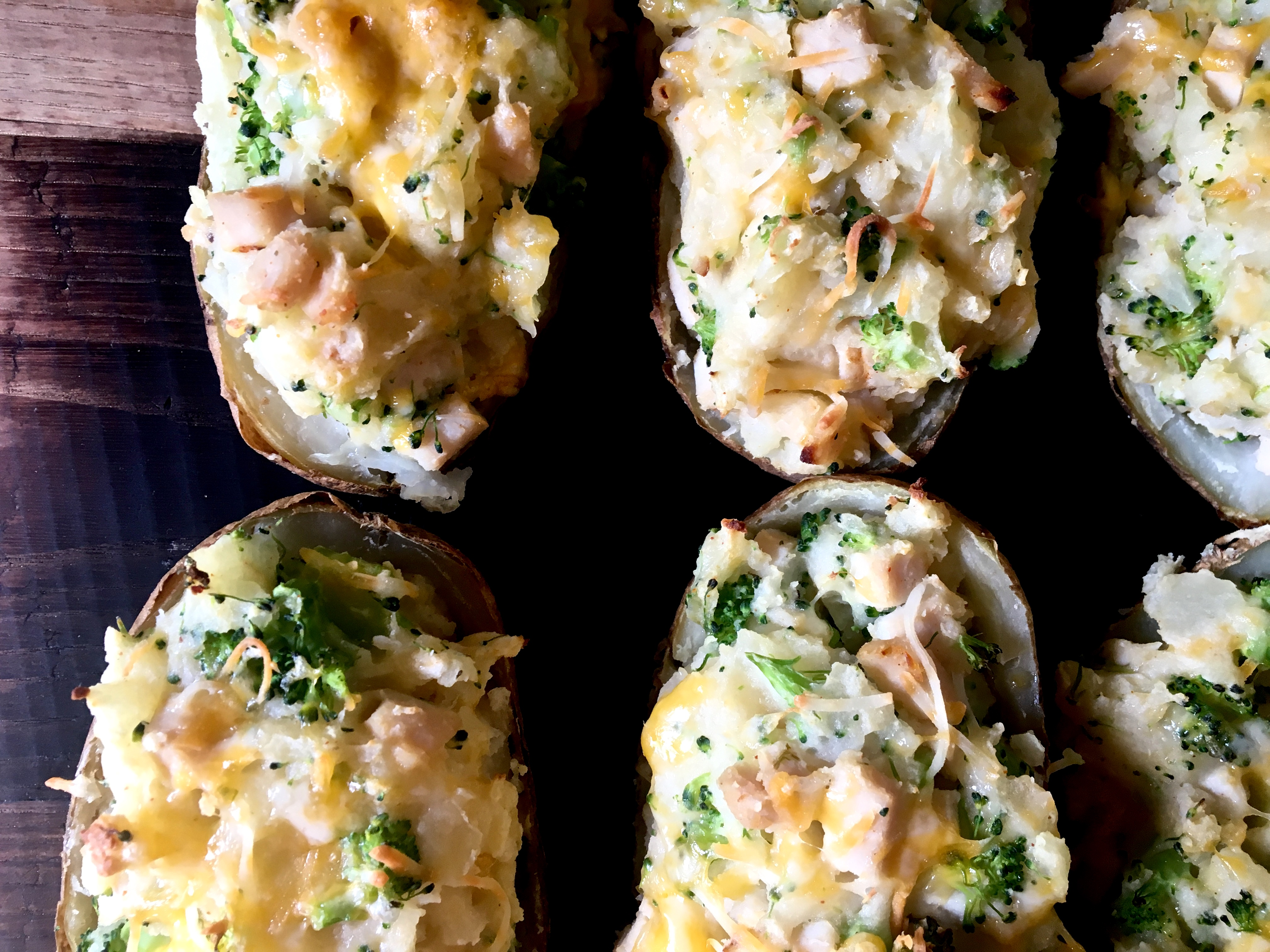 Turkey Cheddar Broccoli Stuffed Potatoes