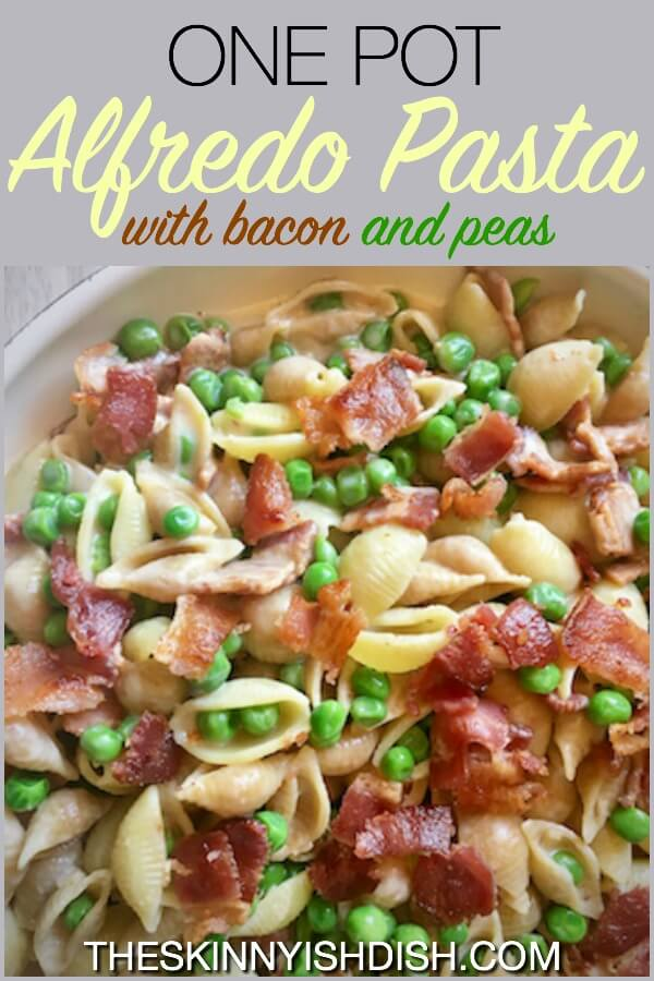 When you're trying to be healthy and still want to enjoy alfredo pasta every so often then my One Pot Alfredo Pasta with Bacon and Peas is where it's at! It's easy and tasty with a sauce that's absolutely delicious!  An excellent comfort food option for your meal plan! #theskinnyishdish #onepot #alfredo #pasta #bacon #peas #theskinnyishdish #freestylesmartpoints