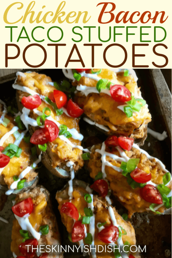 These Chicken Bacon Taco Stuffed Potatoes are a delicious twist on a classic twice baked potato recipes.  Loaded with chicken, bacon, salsa, cheese and topped with your favorite taco toppings these are easy and will satisfy everyone at dinner tonight! #theskinnyishdish #chicken #bacon #taco #stuffedpotatoes #potatoes #freestylesmartpoints #weightwatchers #ww