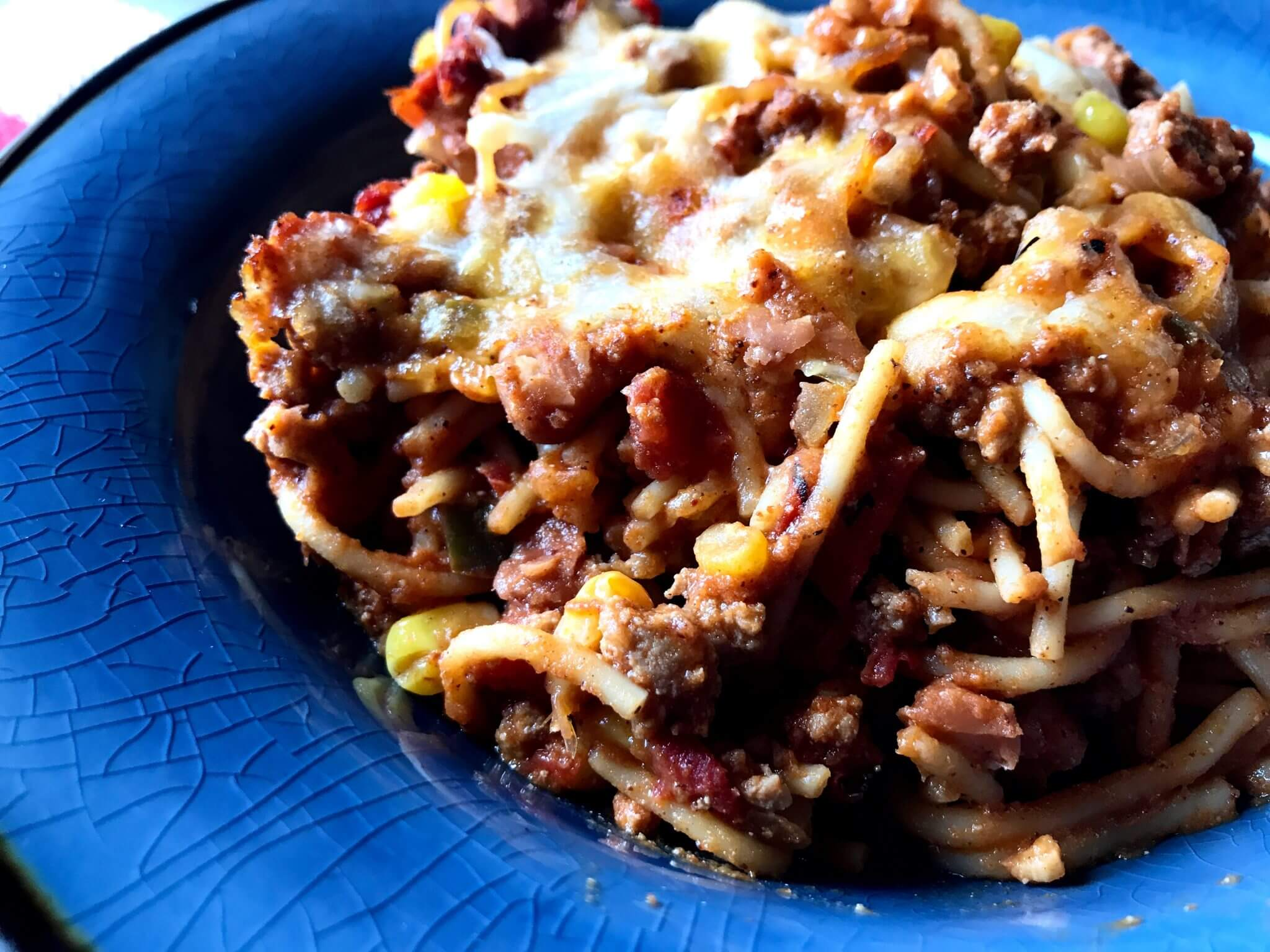 Chili Cheese Spaghetti Bake