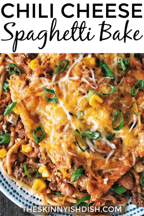 This Chili Cheese Spaghetti Bake is a delicious and easy recipe to add to your menu planner this week!  This tasty casserole is loaded up yummy chili piled onto spaghetti noodles and topped with cheese.  #chilicheese #spaghetti #ww