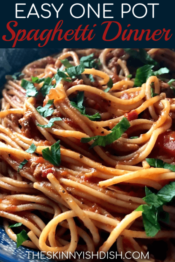 Spaghetti is a go-to dinner for everyone, but this Easy One Pot Spaghetti Dinner will have you swearing off canned sauce and making a deliciously simple dinner even more simple when you move it all to one pot.  It's packed with flavor and will be your new go-to spaghetti recipe!#theskinnyishdish #easy #onepot #spaghetti #dinner #freestylesmartpoints #weightwatchers #ww