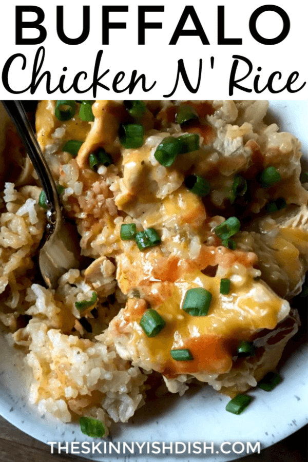When you can make comfort foods recipes with a healthy twist, it's the best!  This Buffalo Chicken N' Rice will soon be one of your favorite dinners! #chickenandrice #buffalochicken #ww