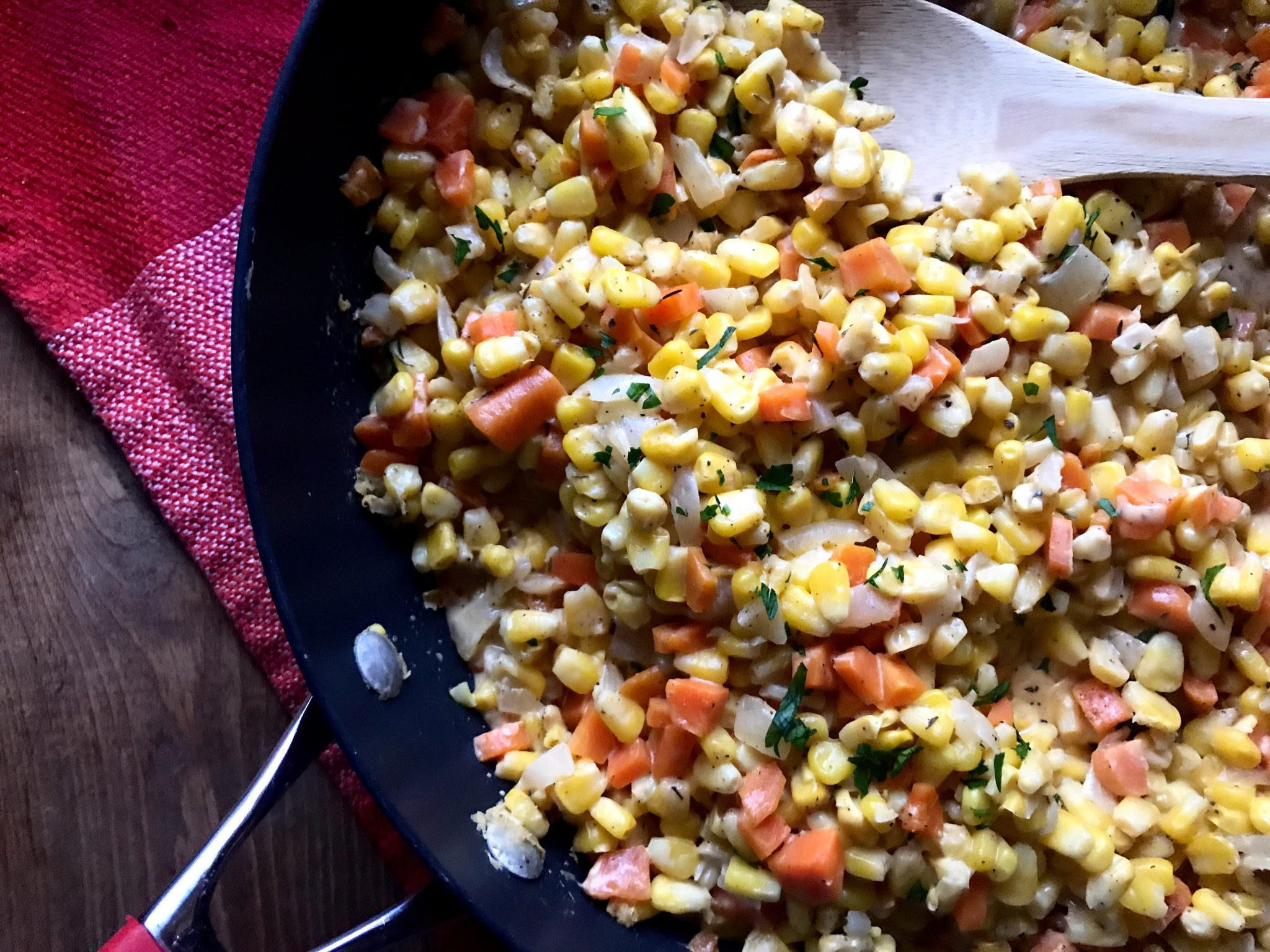 Skillet Creamed Corn and Carrots