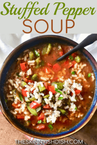 Having an easy and healthy soup recipe to turn to for dinners in a pinch is the best! This Stuffed Pepper Soup is made of simple ingredients and is a wonderful option for families looking for comfort foods with a lightened up twist! #stuffedpepper #soup #ww