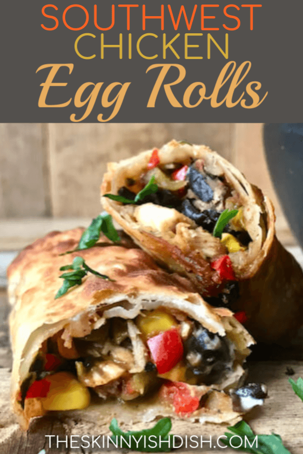 Filled with chicken, peppers, onions, black beans, corn and more these amazing Southwest Chicken Egg Rolls are an amazing appetizer, snack and even meal to cook up tonight!  Air Fryer or baked for the perfect crispiness without all the fat and calories of frying, these are the perfect lightened up dish!  #theskinnyishdish #southwest #chicken #eggrolls #freestylesmartpoints #weightwatchers #ww