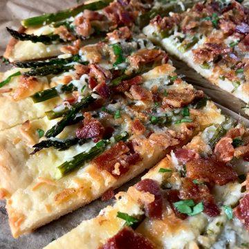Bacon & Asparagus Cheesy Flatbread