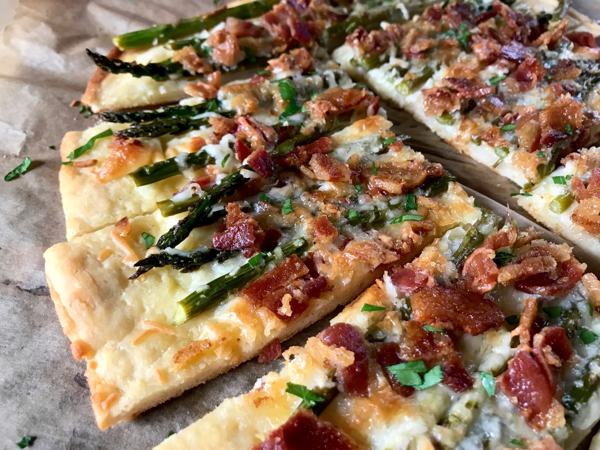 Bacon & Asparagus Cheesy Flatbread