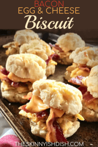 When you're looking for the perfect grab and go, taking a little time to make ahead these freezer friendly Bacon, Egg & Cheese Biscuits will result in delicious, efficient and satisfied mornings.  A freezer full of ready to heat breakfast sandwiches is a huge meal prep win for busy mornings! #theskinnyishdish #bacon #egg #cheese #biscuits #freestylesmartpoints #weightwatchers #ww