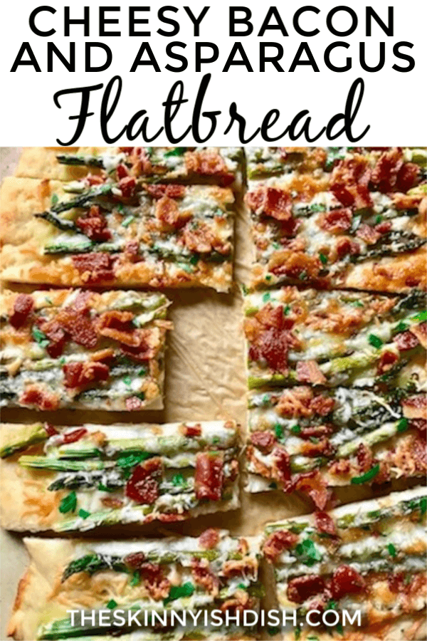 My Cheesy Bacon and Asparagus Flatbread will be one of your most versatile recipes.  From an appetizer to breakfast, brunch to dinner.  This recipe is the most easy, made from scratch flatbread around.  It's great for any day of the week, but fancy enough for a holiday event! #flatbread #baconasparagus #ww