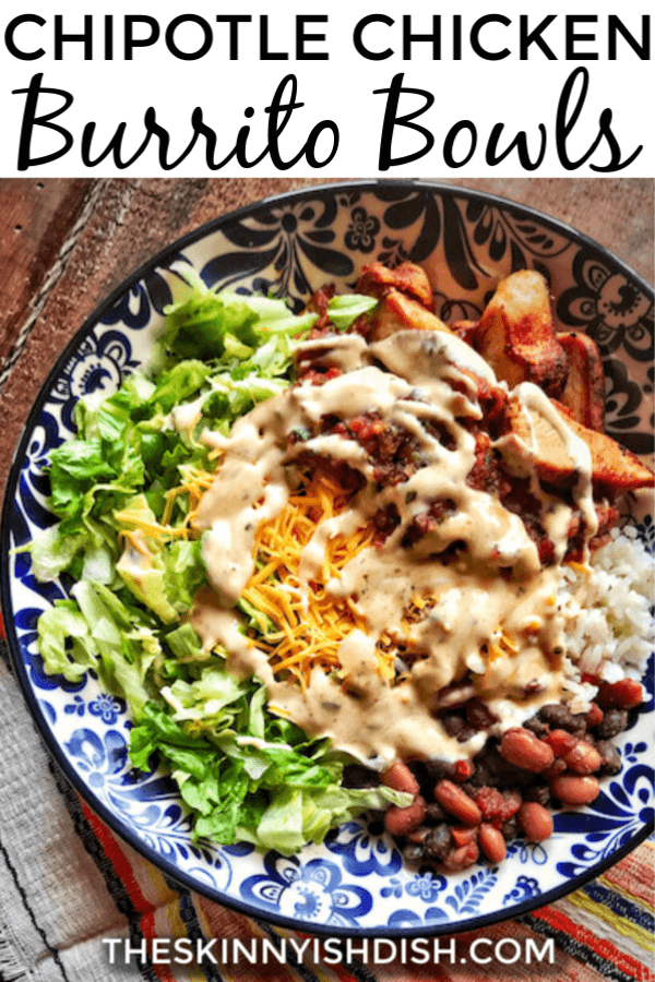 These easy Chipotle Chicken Burrito Bowls are a healthy spin to a recipe from your fast casual restaurant!  So flavorful and tasty, you'll be eating at home a lot more with this winner!   #chipotlechicken #burritobowls #ww