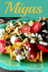 Migas!  A delicious Tex-Mex inspired breakfast of scrambled eggs, peppers, tortillas, Queso Fresco and more.  This quick and easy recipe will be the most delicious thing you can throw together at breakfast time! #breakfast #migas #ww