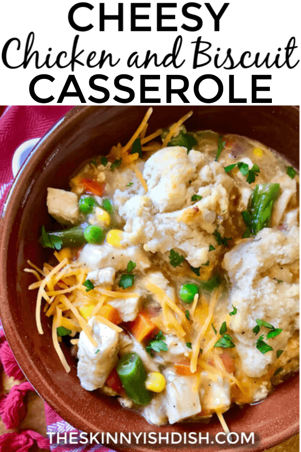 Nothing brings families together more than sitting down for dinners of conversation and togetherness at the end of a busy day.  This Cheesy Chicken and Biscuit Casserole it the ultimate of comfort foods that will bring them all to the table and keep them there for seconds! #chickenandbiscuit #casserole #ww