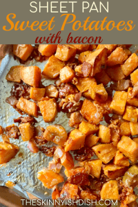 Turn on your oven and be prepared to be wowed with my easy and delicious Sheet Pan Sweet Potatoes with Bacon and Parmesan!  It's one of the best side dish recipes you can bring to the table for any meal, whether it's a Tuesday or Thanksgiving! #sweetpotatoes #bacon #ww