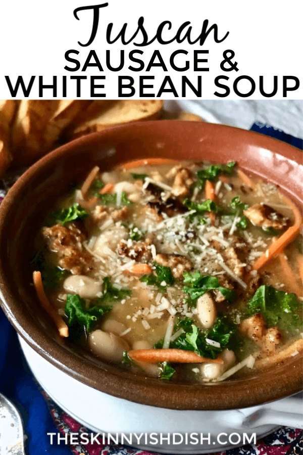 My Tuscan Sausage, Bean and Kale Soup is a warm and delicious meal that is rustic, tasty and filling!  Serve it with a side of crusty bread and you have an amazing dinner on the table! #tuscansausagesoup #ww