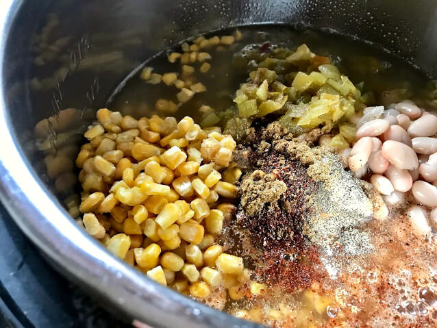 Now we've added the spices and the broth. Everything is starting to mix together before we close and lock the lid.