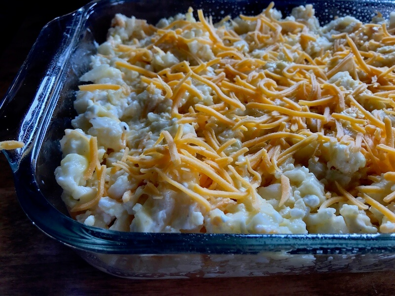 The mixed ingredients have now been moved out of the mixing bowl and spread evenly in a casserole dish, then topped with shredded sharp cheddar cheese. Grab your mitts, cause IT'S OVEN TIME, Y'ALL!
