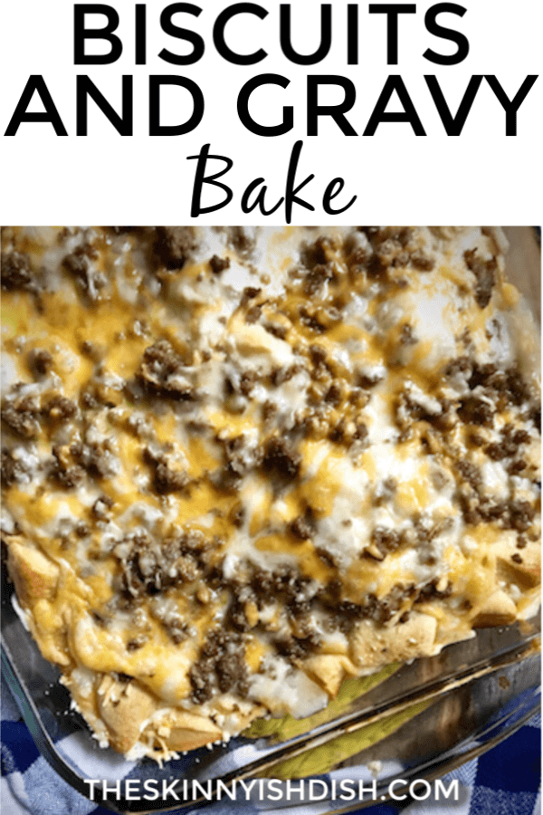 When you're looking for a tasty and easy meal to serve up for mornings or even for dinner, my Biscuits and Gravy Bake is a great choice!  A lightened up option using turkey sausage and egg beaters, you'll make this over and over again!  #biscuitsandgravy #bake #biscuits #gravy #ww #freestylesmartpoints