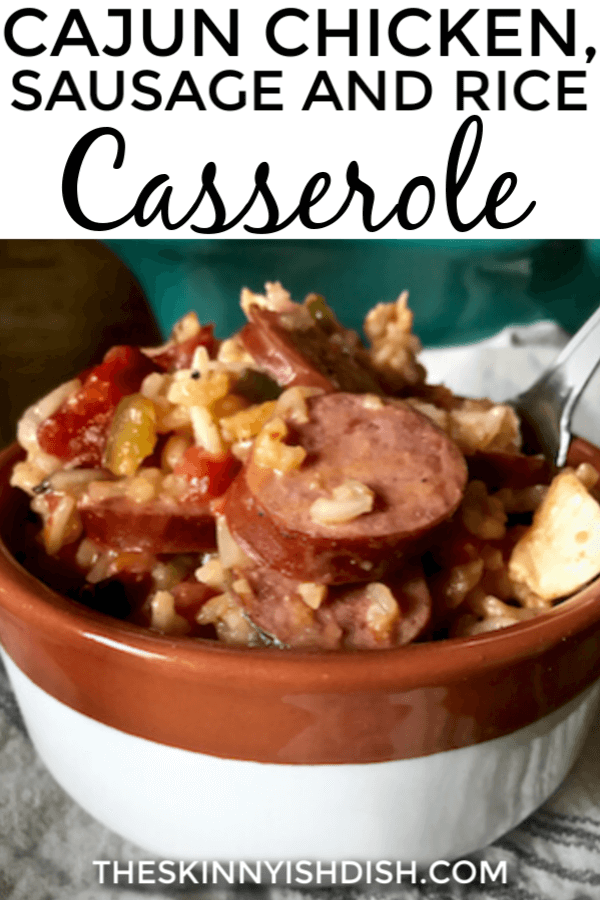 If Mom's Chicken and Rice Casserole and Jambalaya had a baby it would be my Cajun Chicken, Sausage and Rice Casserole!  Creamy and delicious and with just the right amount of heat, this is a big ol' bowl of comfort food at it's finest! #chickenandrice #casserole #ww
