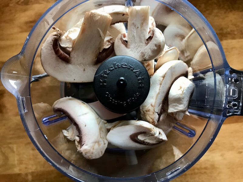 mushrooms in food processor