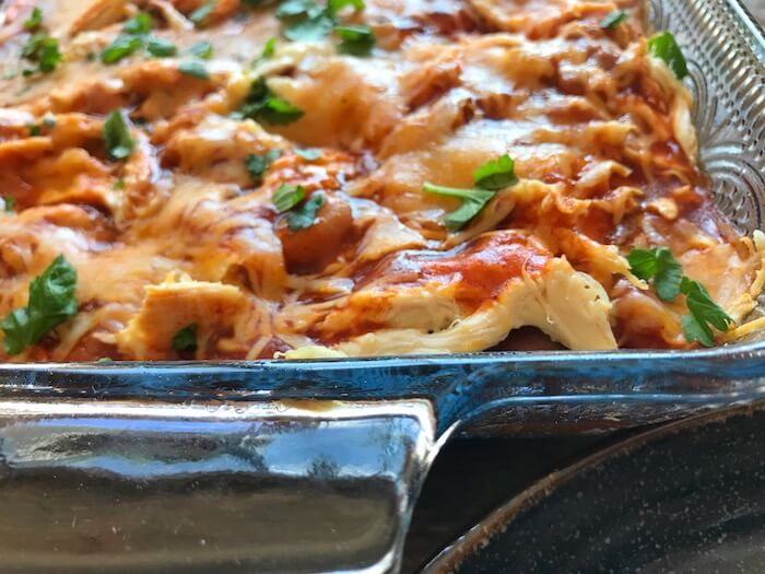 chicken tamale bake after coming out of the oven