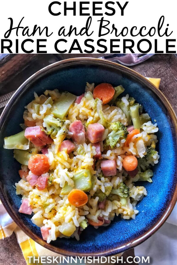 My Cheesy Ham and Broccoli Rice Casserole is an easy and delicious way to use your holiday leftovers in a fun and tasty way! #holidayleftovers #hamcasserole #ww