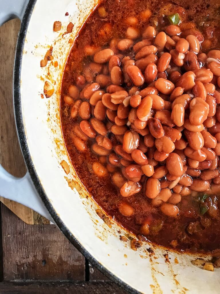pinto beans piled into a dutch oven