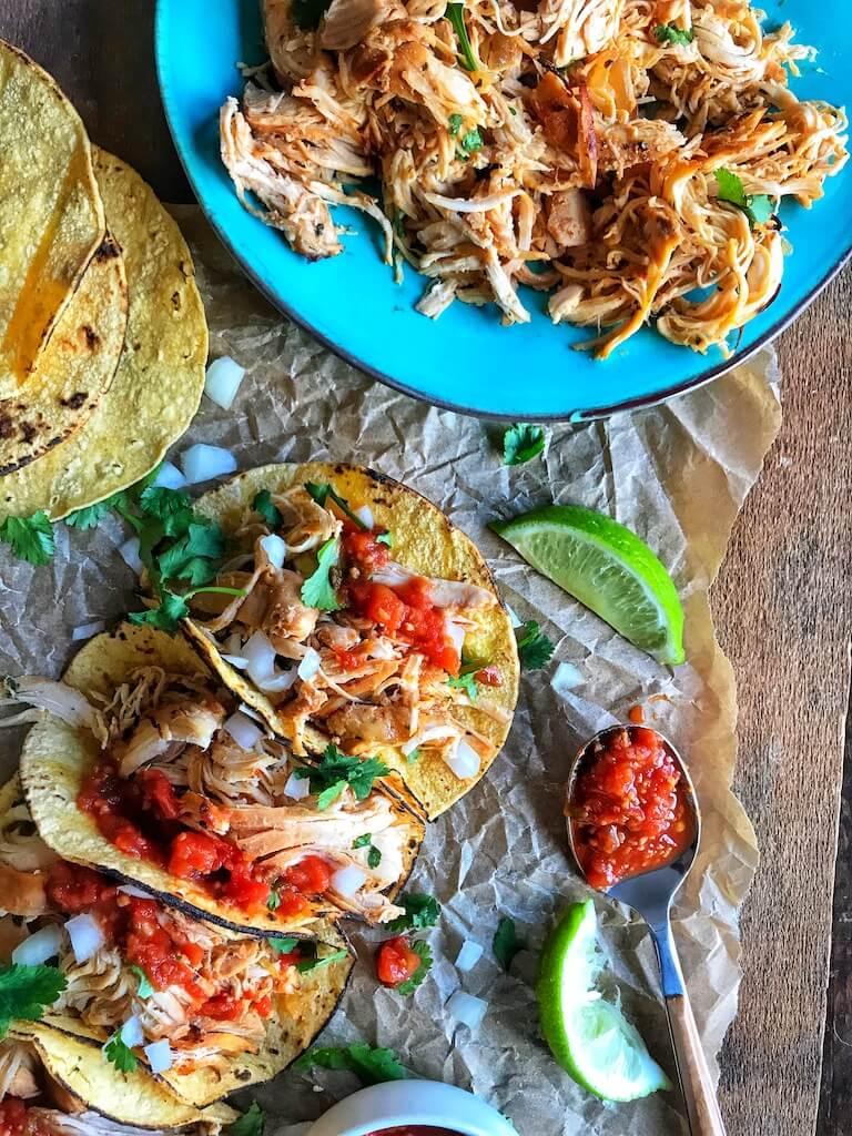 slow cooker chicken carnitas in tacos