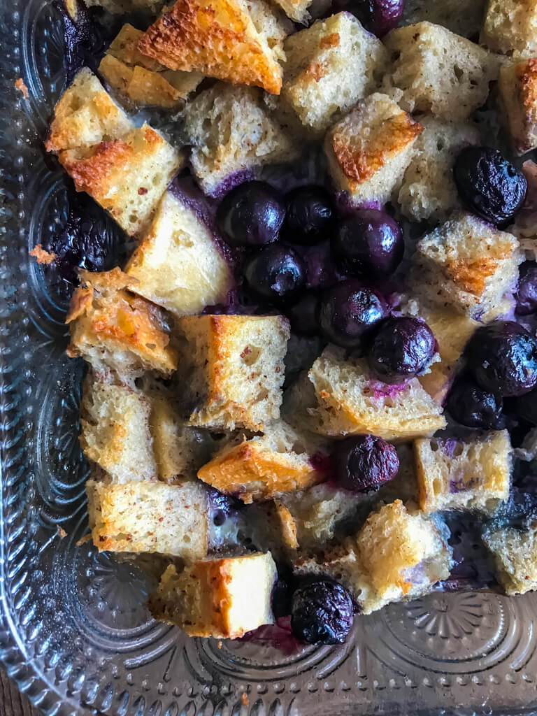 close up of Blueberry French Toast Bake