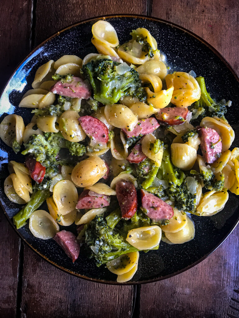 One Pot Smoked Sausage Broccoli Pasta on a plate
