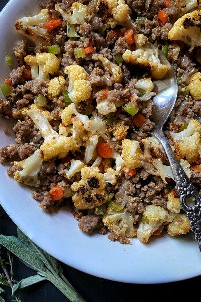 low carb cauliflower sausage stuffing