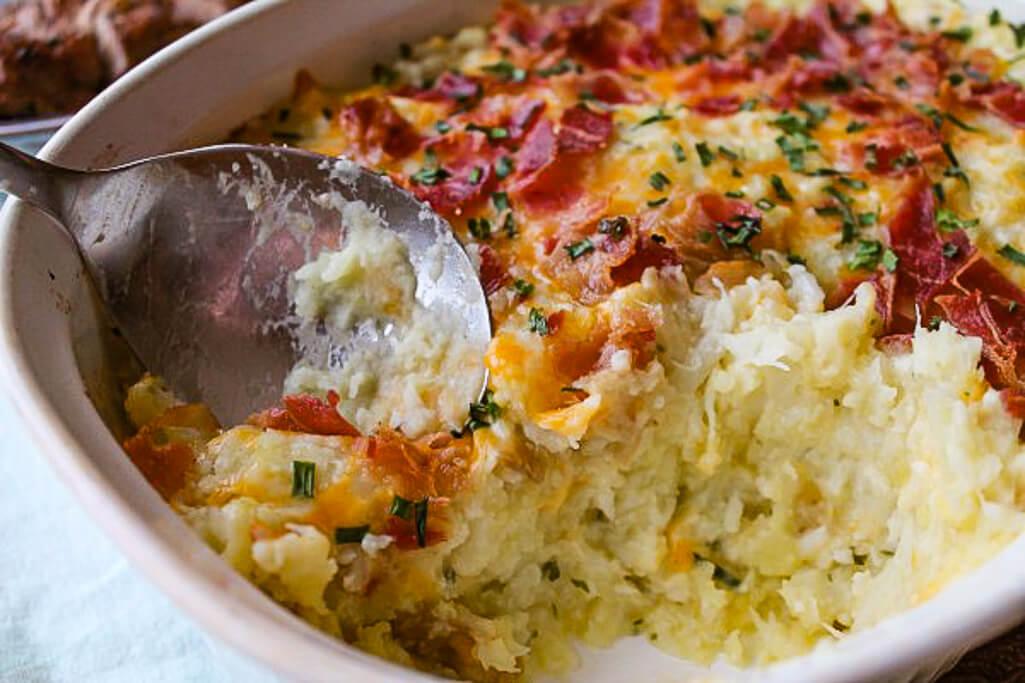 loaded cauliflower and potato bake