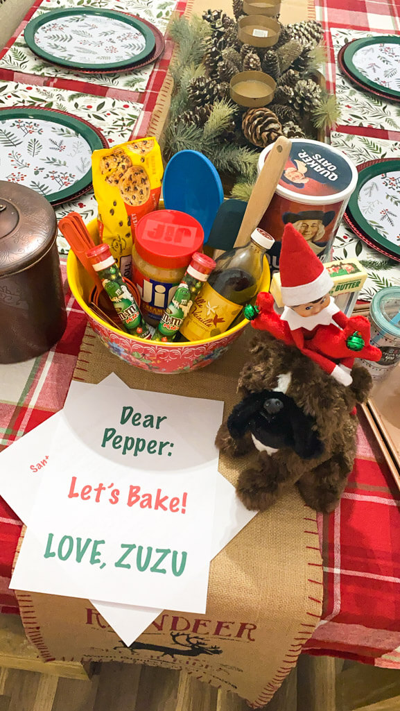 baking goodies and elf with a stuffed animal dog