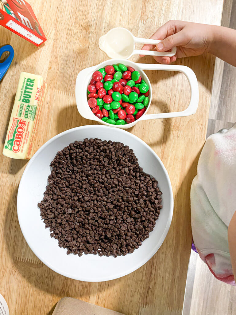 bowl of chocolate chips, bowl of m & m's