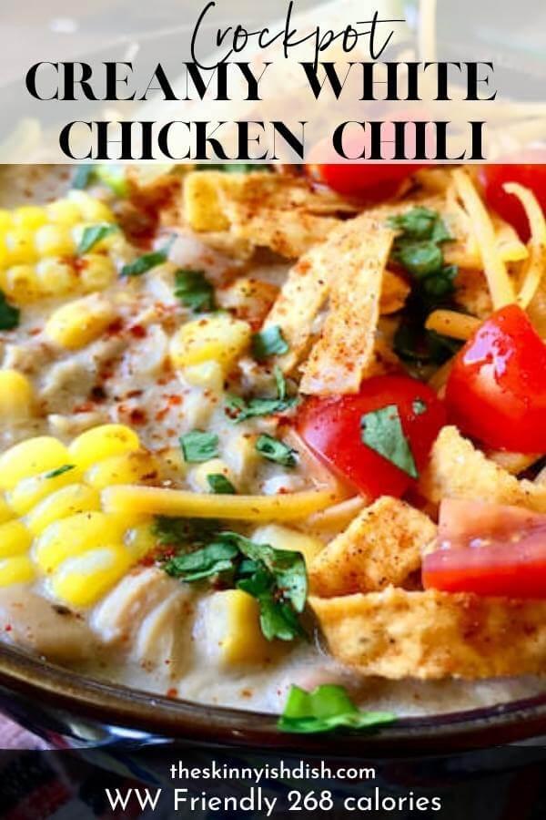 Crockpot Creamy White Chicken Chili The Skinnyish Dish