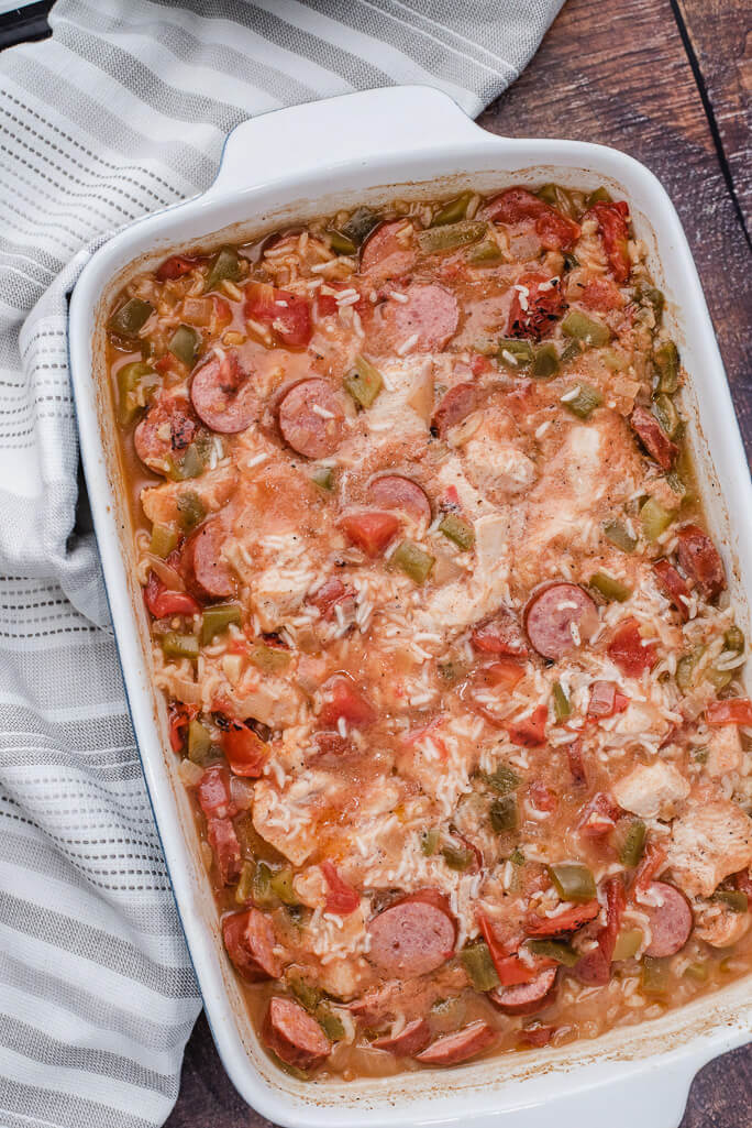 finished rice sausage chicken casserole
