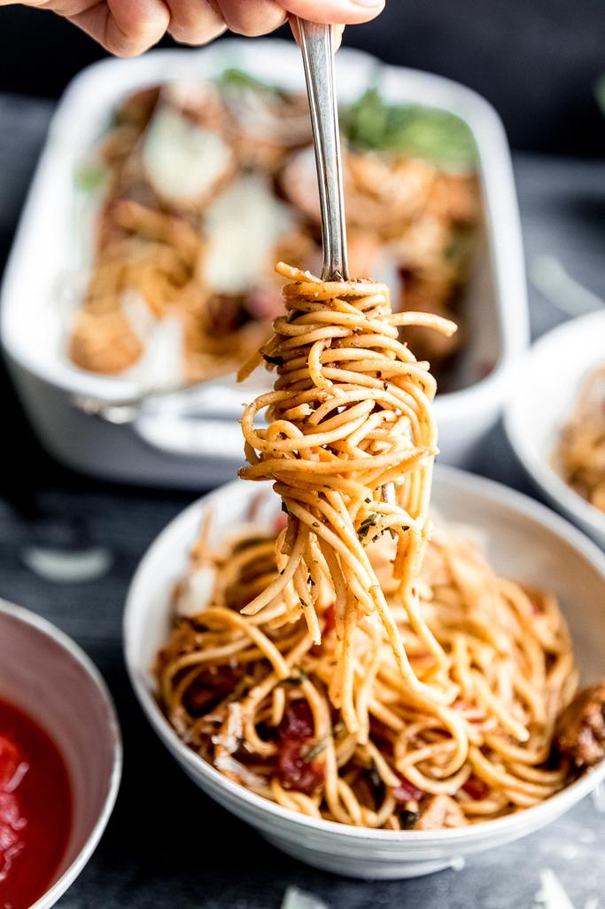 spaghetti twirled around a fork