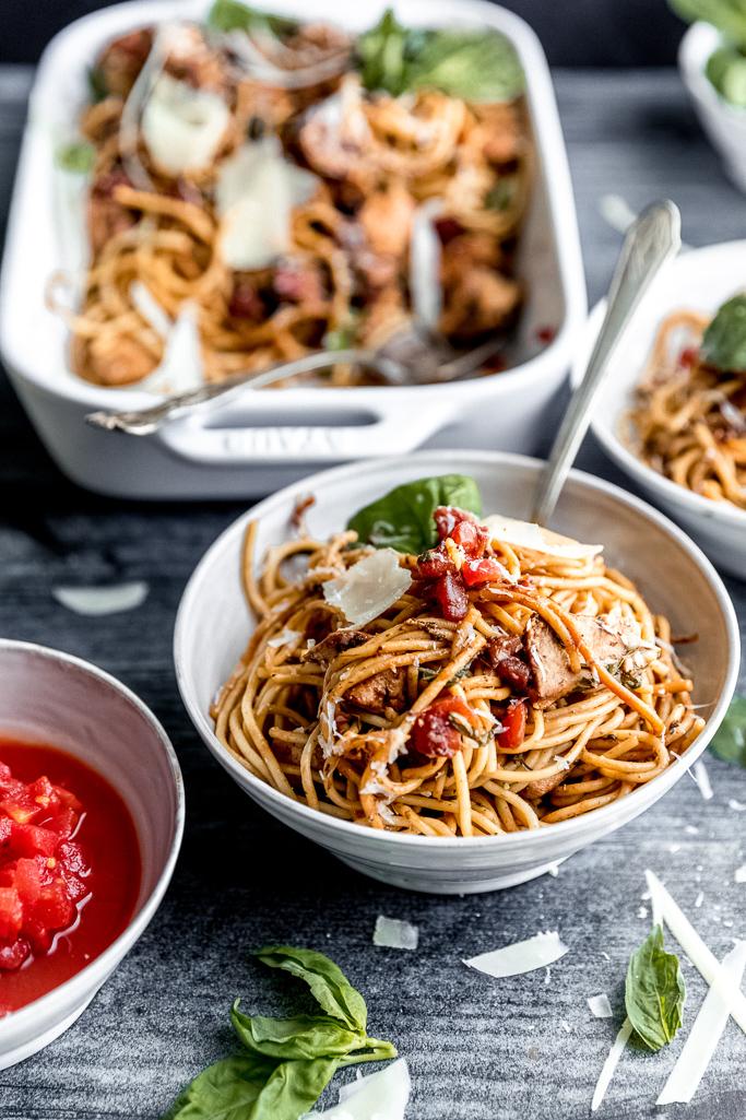 bruschetta chicken spaghetti